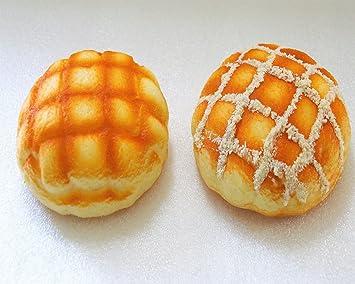 スクイーズ 食パン メロンパン 食品サンプル 低反発 香り付き ぷにゅぷにゅ リアルパン (メロンパン 2個