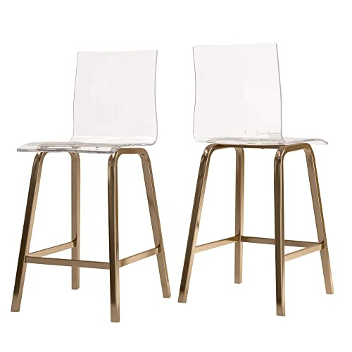Union 5 Home Avallon Glam Transparent Clear Acrylic Swivel High Back Bar Stools – Set of 2