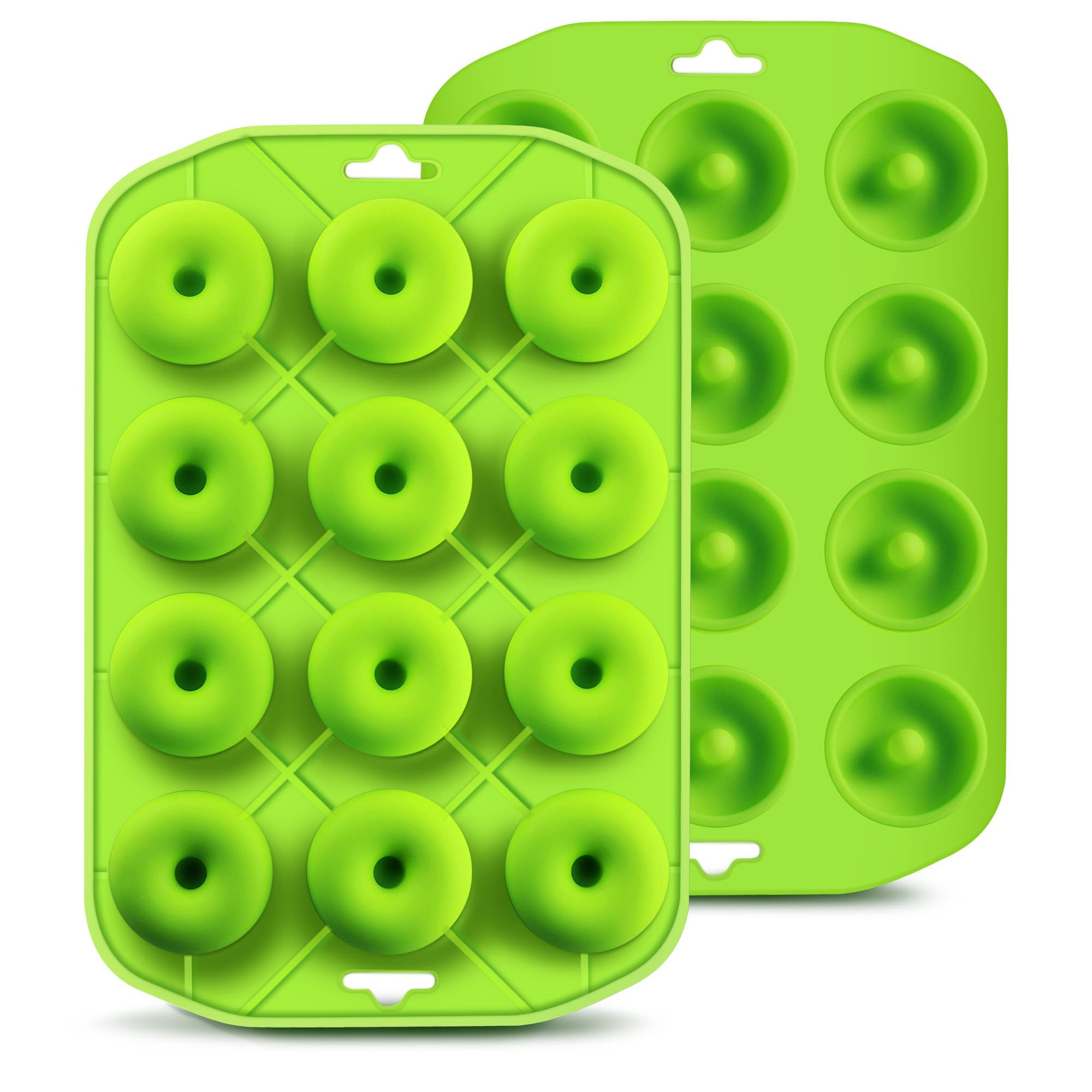 Silicone Mini Donut Maker Baking Cupidove Muffin Pan Tray 12 Holes Pure Food Grad Green makes12 Full Size Donuts, BPA Free, FDA & German LFGB Approved