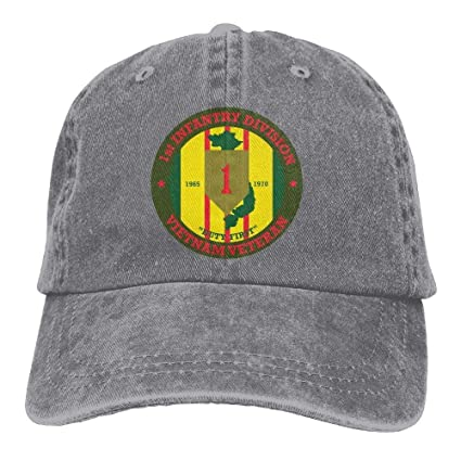 dbc716e7652 Amazon.com  SweetieP 1st Infantry Division Vietnam Veteran Adjustable  Baseball Caps Denim Hats Cowboy Sport Outdoor  Sports   Outdoors