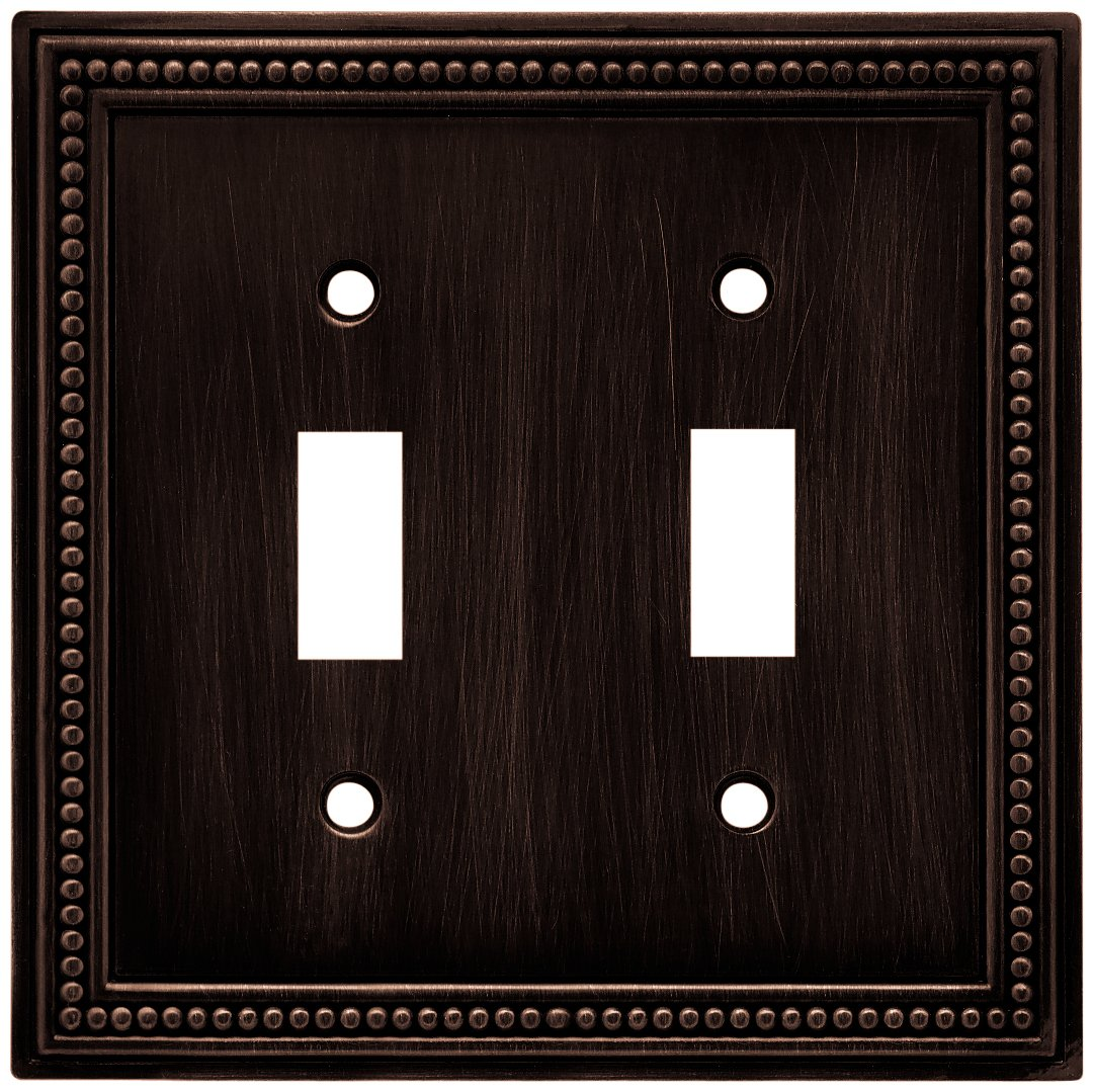 Brainerd 64409 Beaded Double Toggle Switch Wall Plate / Switch Plate / Cover, Venetian Bronze by Brainerd
