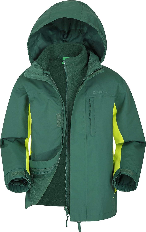 Mountain Warehouse Cannonball Kids 3 in 1 Waterproof Rain Jacket Khaki 5-6 Years