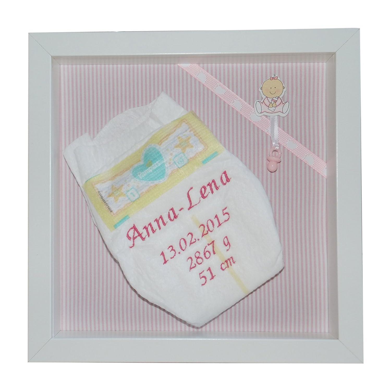 Bestickte Pampers Windel im 3-D Rahmen, Windelbild, Geschenk Taufe oder Geburt (rosa) Pilzchenbande