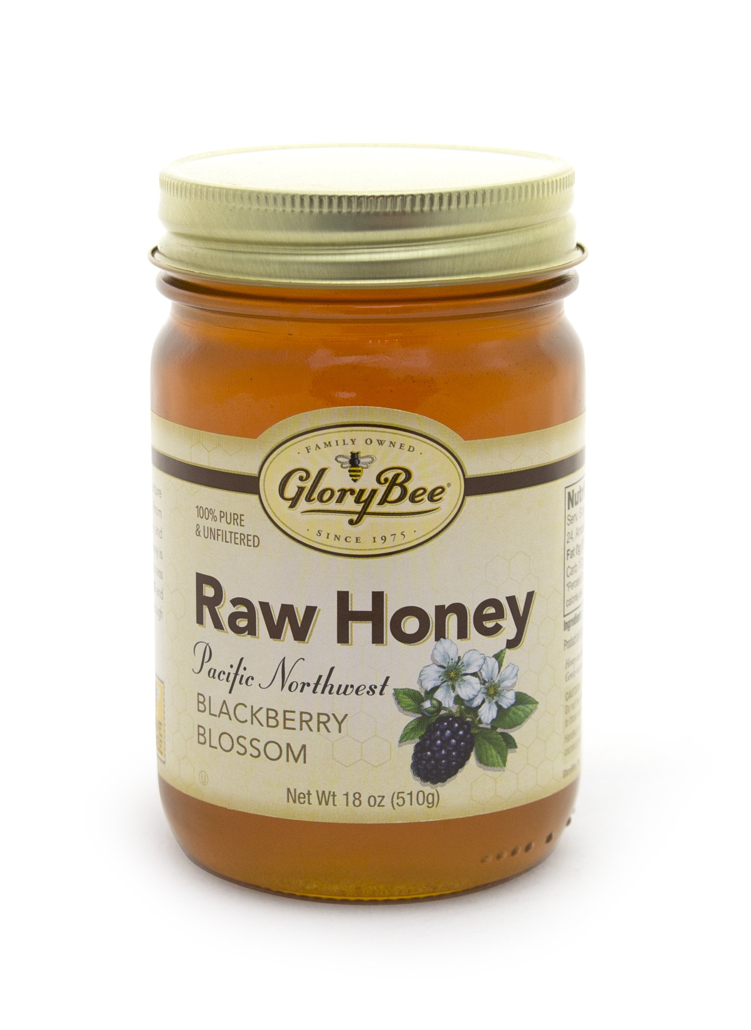 GloryBee Raw Pacific Northwest Blackberry Blossom Honey, 18 Ounce