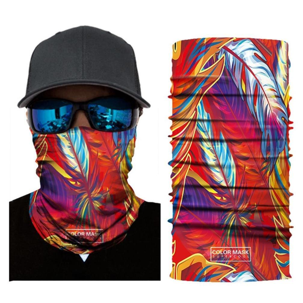 UMFun Colorful Printed Cycling Face Mask Motorcycle Head Scarf Neck Warmer Ski Balaclava Headband 25x50cm (A)