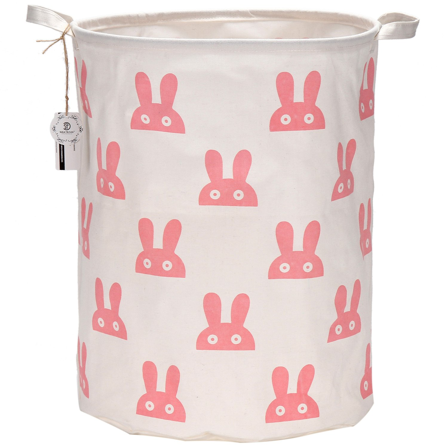 "Sea Team 19.7"" Large Sized Waterproof Coating Ramie Cotton Fabric Folding Laundry Hamper Bucket Cylindric Burlap Canvas Storage Basket with Cute Bunny Design (Pink)"