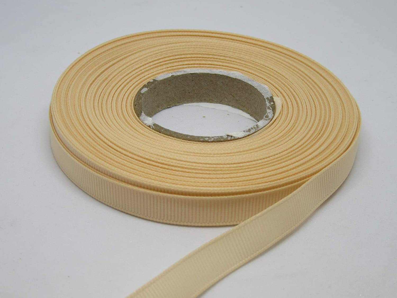 Beautiful Ribbon 1 Rollo de Cinta de 10mm Grosgrain x 20 Metros Desnudo Beige Claro de Doble Cara Acanalado 10 mm