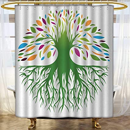 Anhounine Tree Of Life Shower Curtain Customized Colorful Round Abstract And Soul Symbol Eco