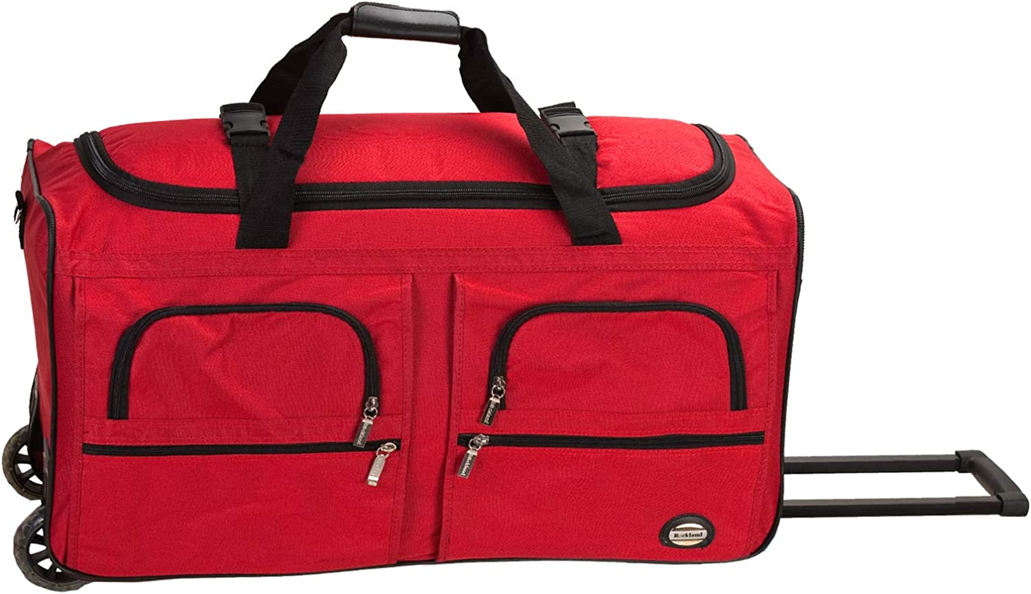 Rockland Rolling Duffel Bag, Red, 36-Inch
