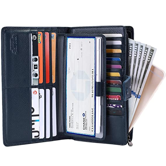 ITSLIFE - Organizador de cartera para mujer de piel rugosa - Azul - talla única: Amazon.es: Ropa y accesorios