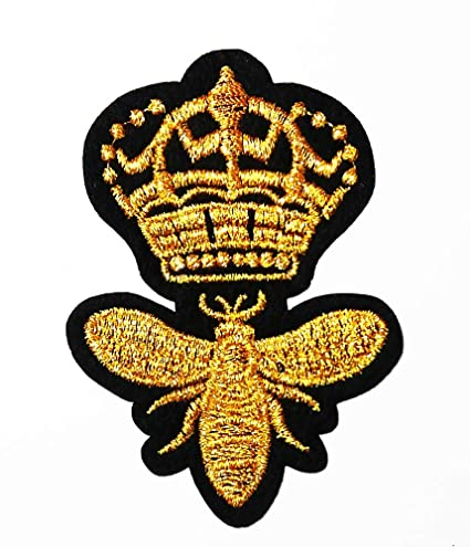 f40d095c654aa Amazon.com: Crown bee Golden Queen Logo Patch Embroidered Sew Iron ...