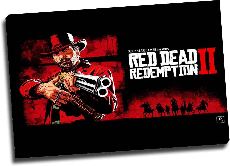 Red Dead Redemption 2 Decoración de pared de oficina, arte de 91,4 x 61 cm, enmarcado de madera Arthur Morgan decoración de pared para baño, estirado y listo para colgar: Amazon.es: Hogar