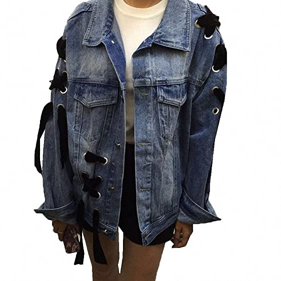 Denim Jacket For Women NEW Vogue Loose Bomber Jacket Long Sleeve Streetwear Jaqueta Feminina S~