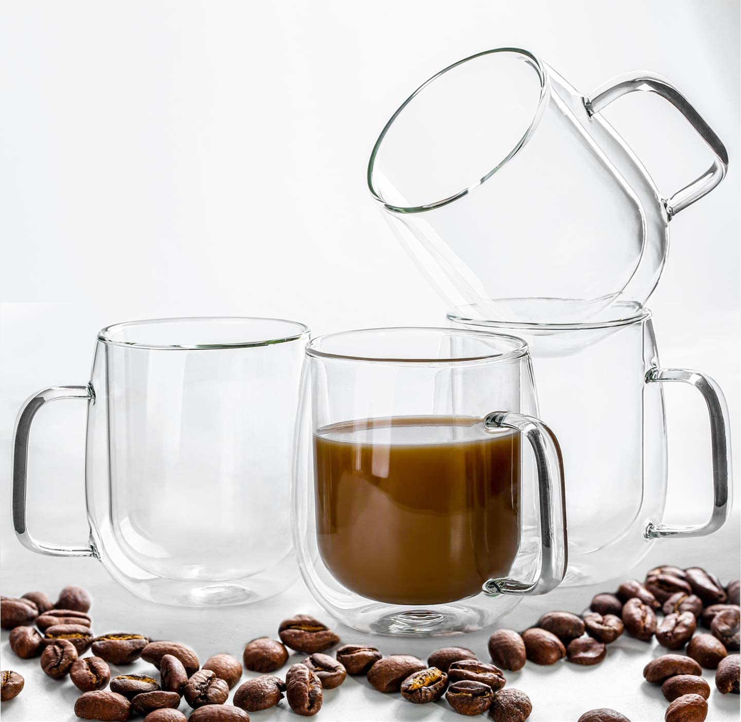Hovico Insulated Coffee Mugs, Glass Coffee Mugs Set of 4, Clear Coffee Mug 12 Oz, Double Wall Glass Coffee Cups for Latte, Cappuccino, Americano, Tea and Beverage