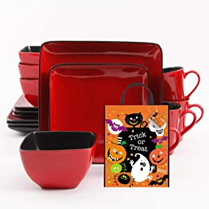 Better Homes and Gardens Square 16 Piece Dinnerware Set and Trick or Treat Bag Bundle, Red