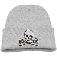 4900e5ae35c Skull And Lacrosse Bones Unisex Kids Warm Winter Hat Knit Beanie Skull Cap  Cuff Beanie Hat