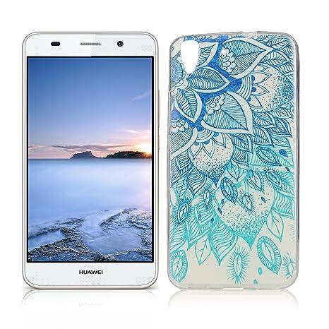 OuDu Funda para Huawei Y6 II/Y6 2 Carcasa Protectora Caso Silicona TPU Funda Suave Soft Silicone Case - Loto Azul