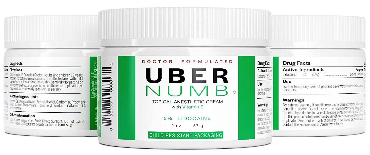 Uber Numb 5% Lidocaine Topical Anesthetic Cream Advanced Formula Rapid  Absorption
