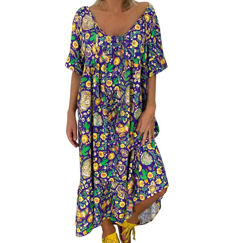 Womens Off Shoulder Dress Plus Size S-5XL Vintage Floral Printed Summer Sundress Ladies Clothes Sale Loose Fit Deep V Neck Ruffles Casual Party Maxi Dresses