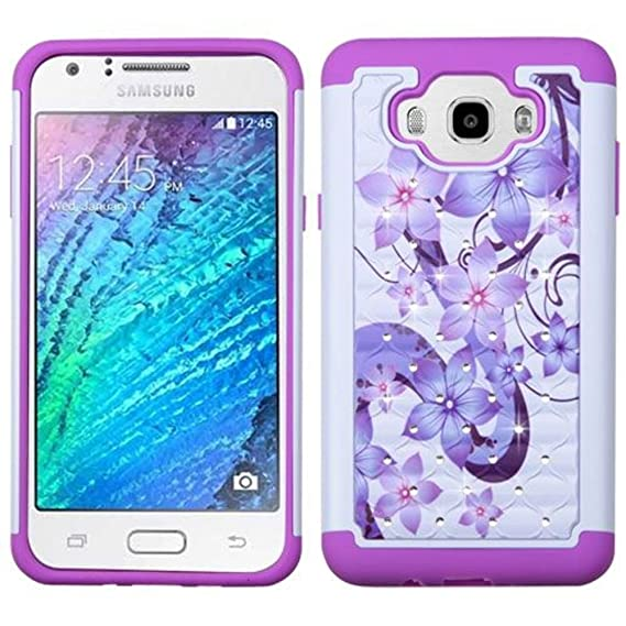 finest selection 5e5f4 5c7fb Asmyna Cell Phone Case for Samsung Galaxy J7 - Purple Hibiscus Flower  Romance/Electric Purple