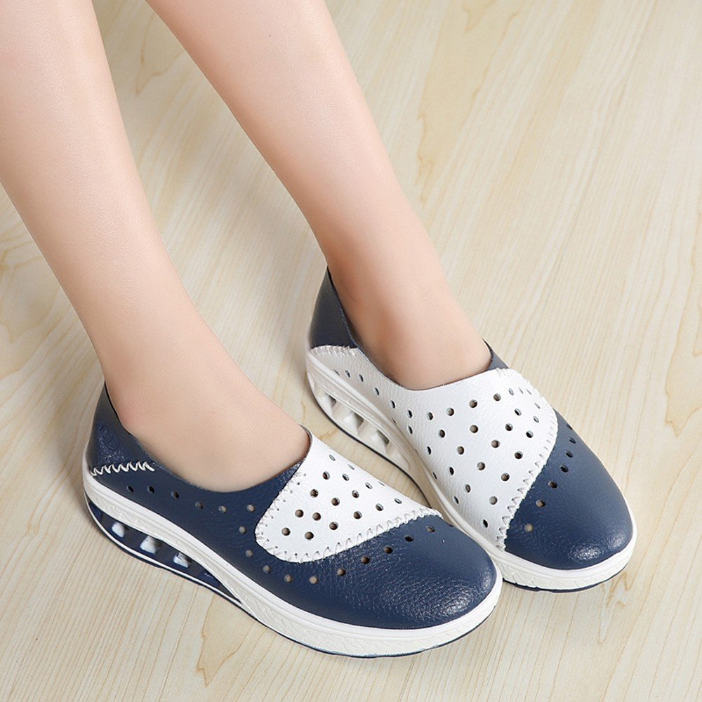 Clearance Sale Shoes For Women,Farjing Fashion Women Round Head Flat Breathable Leisure Sports Shoes Shake Shoes(US:5.5,Blue)