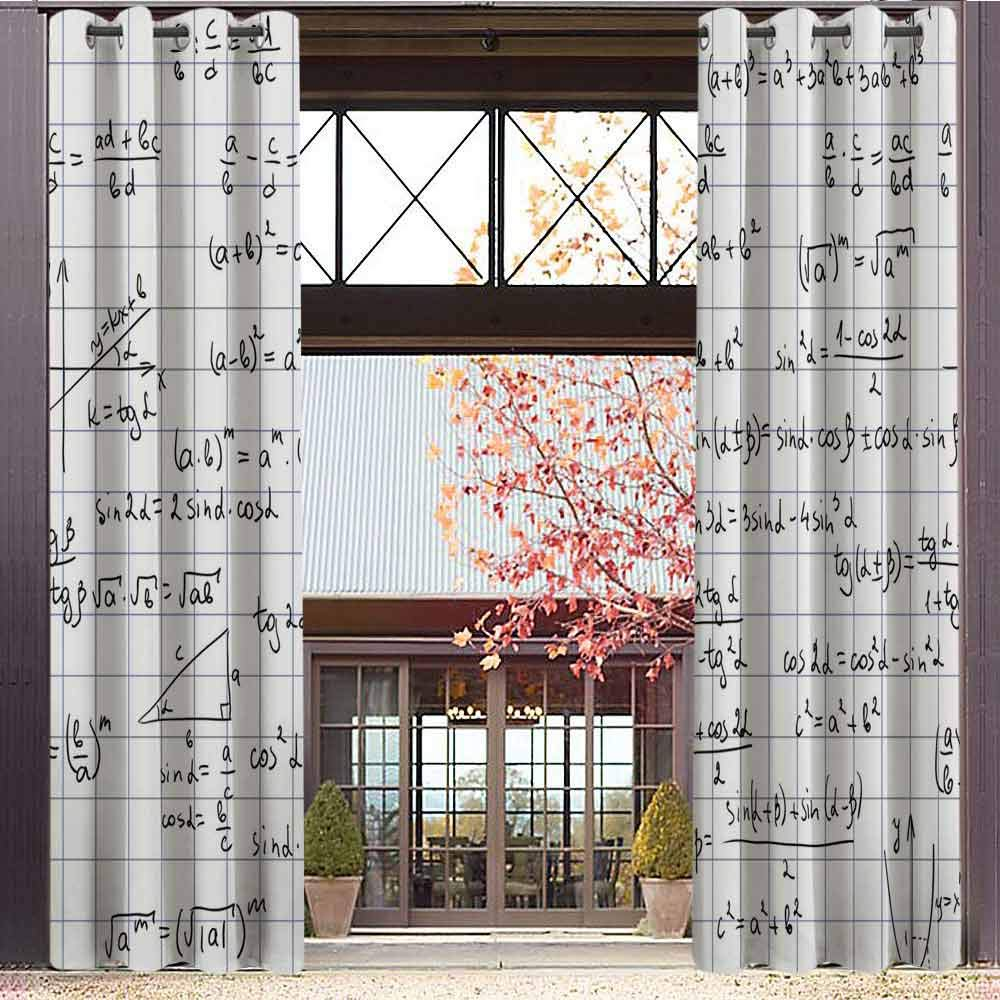 hengshu Mathematics Classroom Decor 99% Blackout Curtains Squared Notebook Page Lesson Notes Student Print for Bedroom Kindergarten Living Room W72 x L72 Inch Light Blue Black White