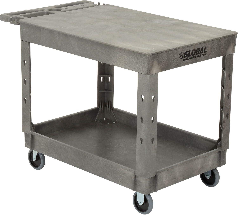 Plastic 2 Flat Shelf Service Utility Cart, 44 x 25-1 2 , 5 Rubber Caster, Lot of 1