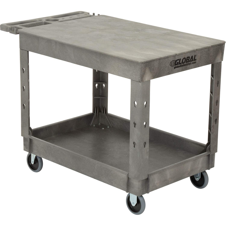 Plastic 2 Flat Shelf Service & Utility Cart, 44'' x 25-1/2'', 5'' Rubber Caster, Lot of 1