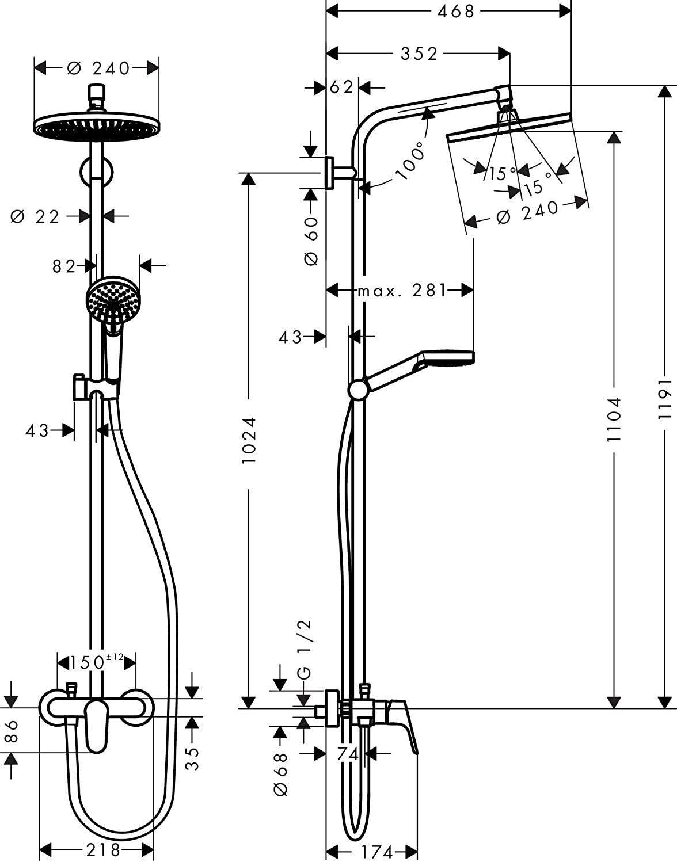 Hansgrohe 27269000 Crometta S 240 columna de ducha, 2 tipos de ...