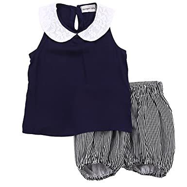 a13e20c61e62 Amazon.com  2Pcs Toddler Little Girls Summer Outfits Lace Round ...