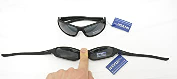INVU Gafas de Sol polarizadas 2501 B Negro elástica indeformabile Lentes 100% UV Block Sunglasses