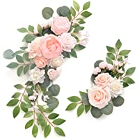 Ling's moment Artificial Flower Swag for Aquamarine Wedding Ceremony Sign Floral Decoration - Pack of 2
