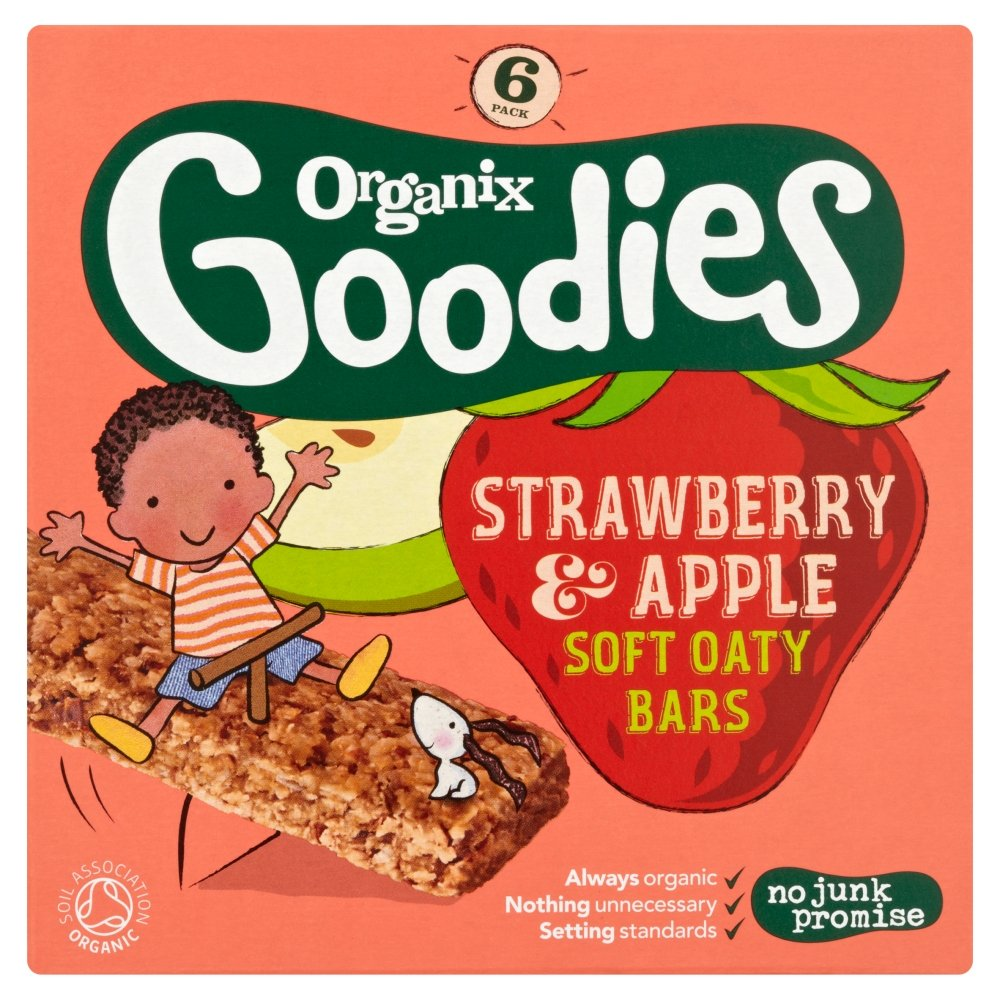 Organix Goodies From 12+ Months Strawberry and Apple Soft Oaty Bars, 6 x 30g 105534412