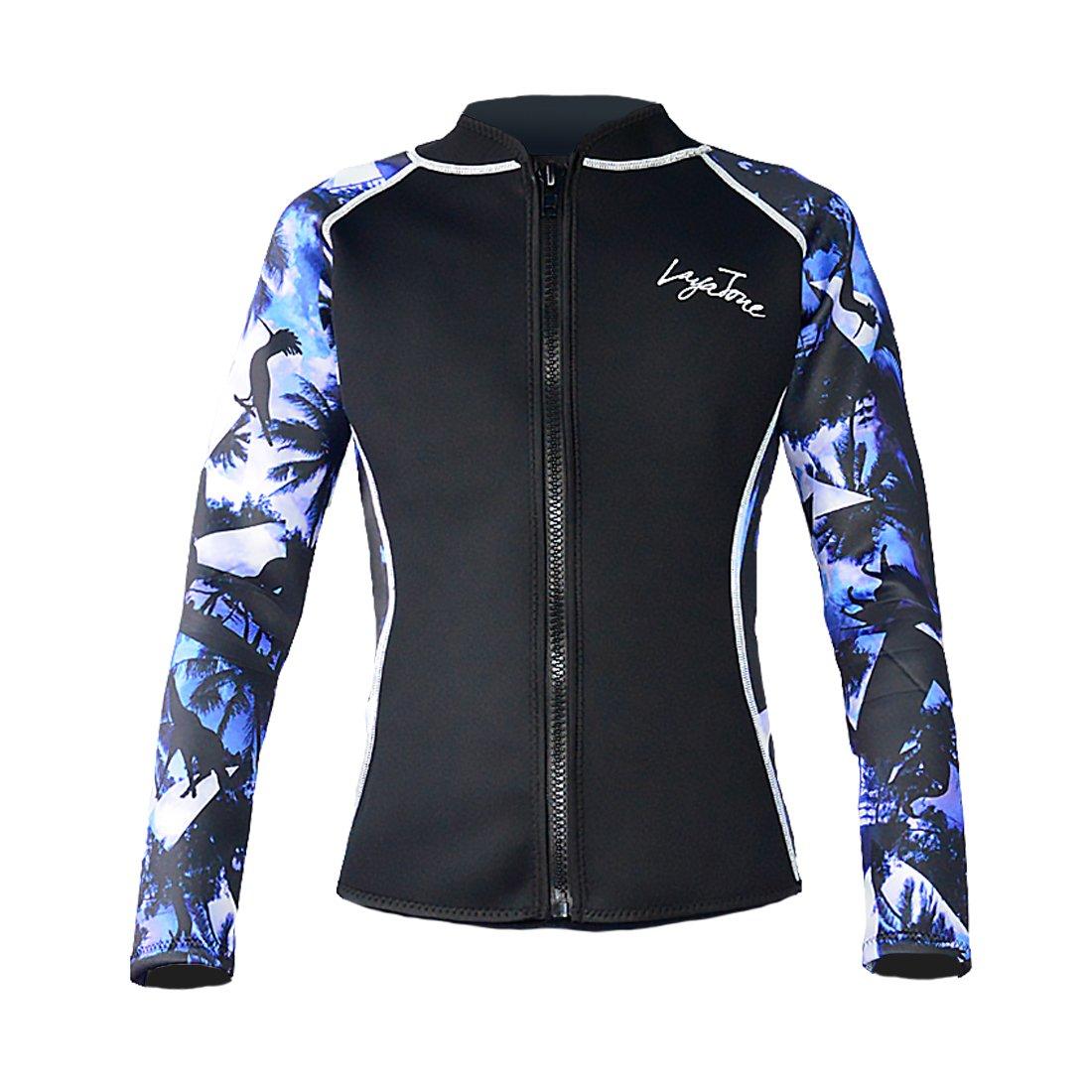 Layatone Wetsuit Top Men Women 3mm Neoprene Suit Scuba Diving Surfing Jacket Rash Guard Wet Suits Top Jacket Women Men Adults Long Sleeves Front YKK Zipper Wetsuits Jacket (Blue-Lycra Sleeve)