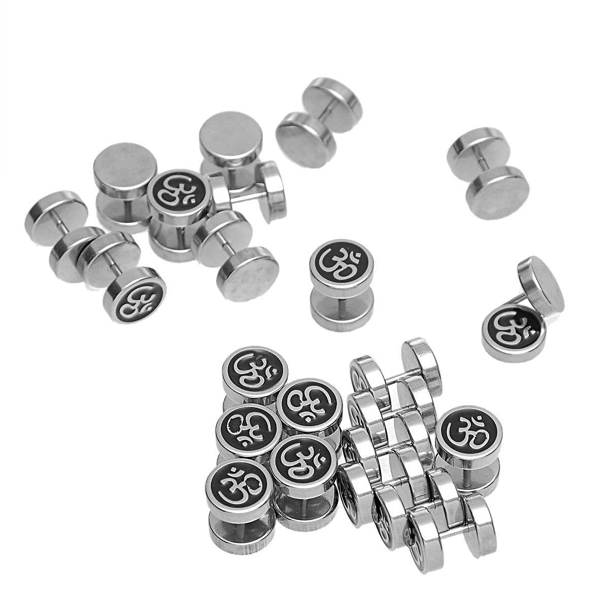 HOUSWEETY 316L Stainless Steel Round Om/Aum Sign Screw Back Barbell Stud Earrings 10mm-1pair by Housweety (Image #3)