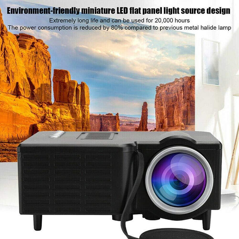 Zchui Micro Proyector de video para teléfono móvil, mini proyector portátil   20.000 horas, soporte HD 1080p, HDMI, USB, VGA, AV, TF, TV Stick para entretenimiento familiar y cine en casa, Blanco: