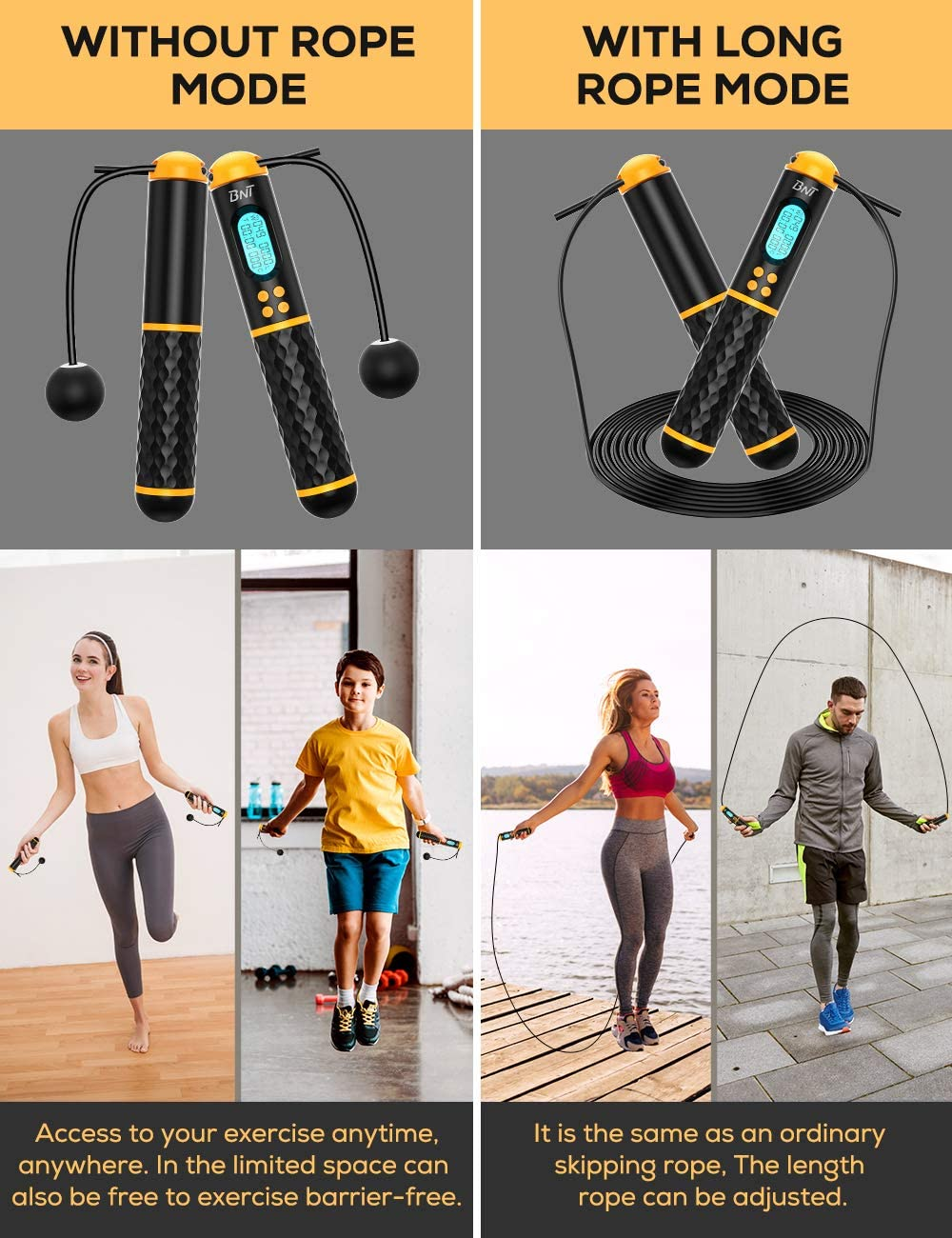 BNT Jump Rope, Speed Skipping Rope with Calorie Counter