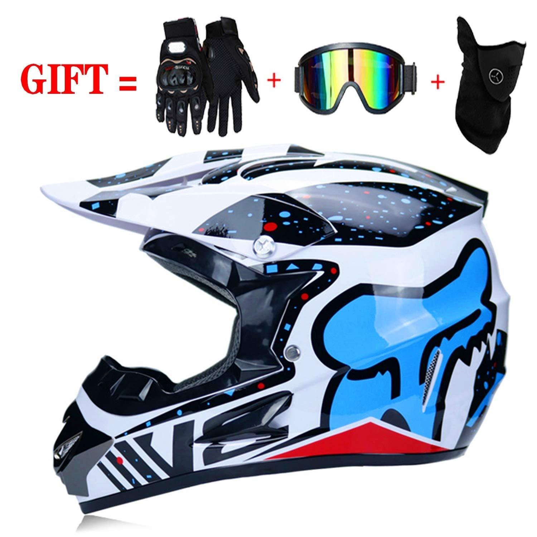 02 Apto para Adultos y ni/ños Moto Quad Enduro Casco de Motocross para Motocross Guantes de Motocicleta X-Large LSLVKEN