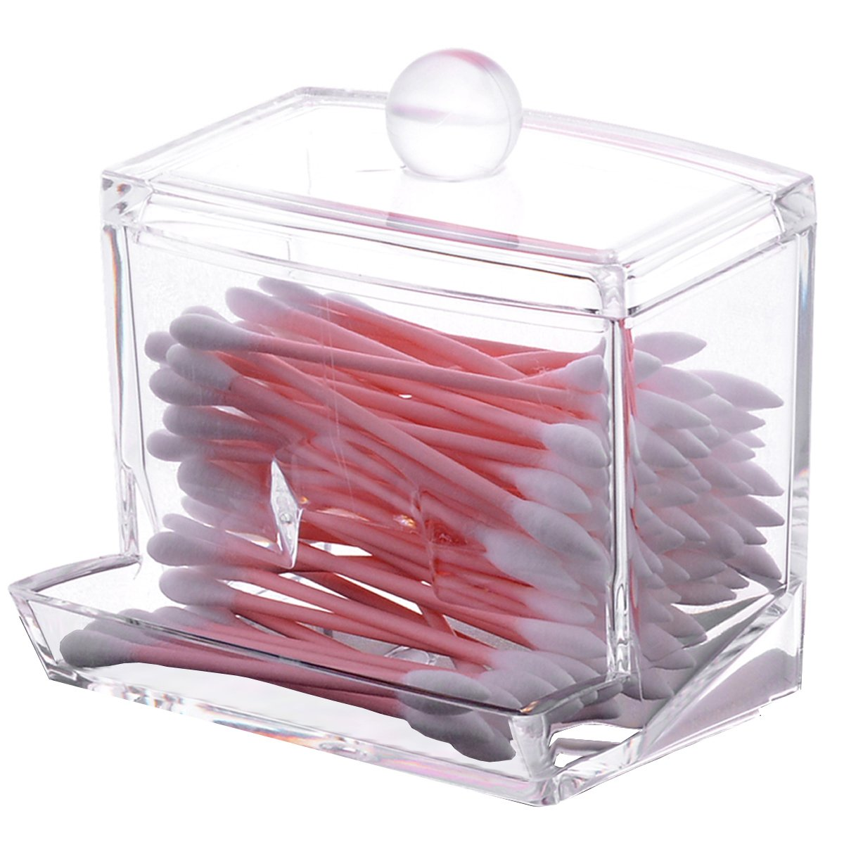 Sooyee Acrylic Cosmetic Q-tip Cotton Swabs Balls Buds Holder Makeup Storage Case Dispenser Organizer, Clear, pack of 1 ny30