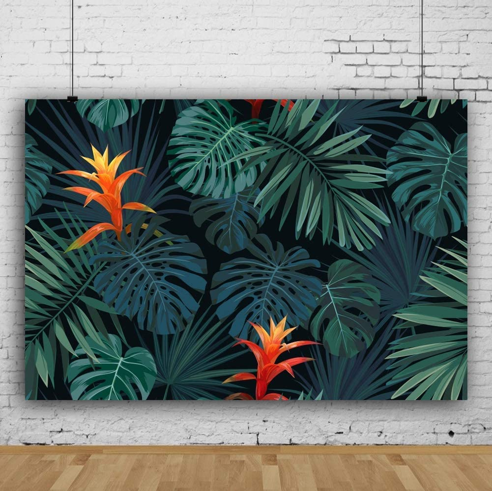 6x4ft Tropical Large Leaves Backdrop for Photos Hawaii Luau Feast Summer Party Event Decoration Travel Holiday Vacation Photo Studio Props Vinyl Wallpaper Banner Poster