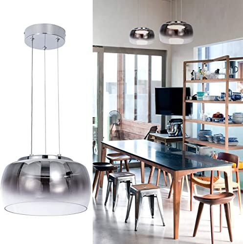 Helych Modern Glass Pendant Light LED Not Dimmable Modern Chandelier Adjustable Gradient Grey Pendant Light Fixture