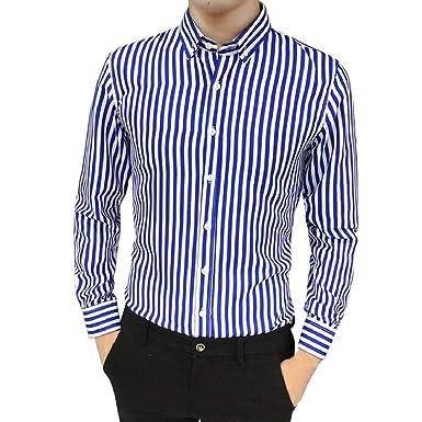 100% authentic b3b8b aab16 PAOLIAN Herren Langarm Gestreift Hemd Slim Fit Hemd Shirts Oberteile Bluse  Anzug Fit Hemd Klassisch Gestreifte Hemden Oberteile