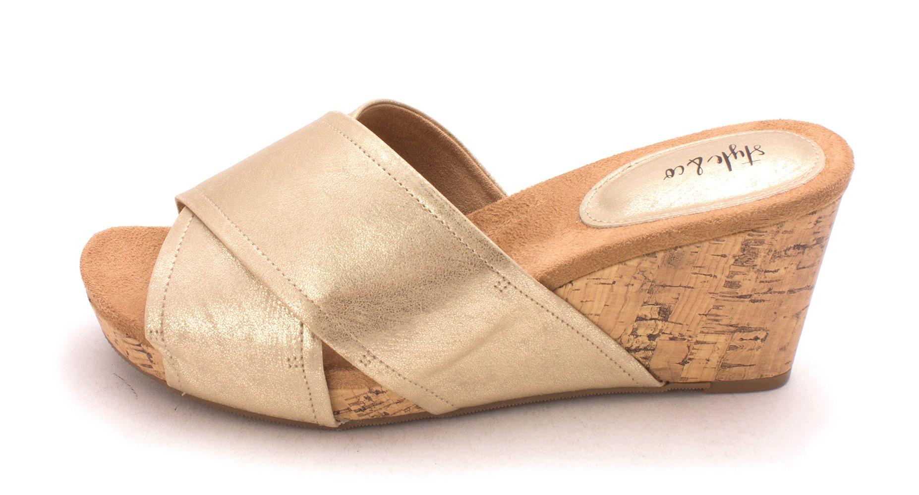 Style & Co. Womens Jill Open Toe Mules, Gold/Light, Size 8.5