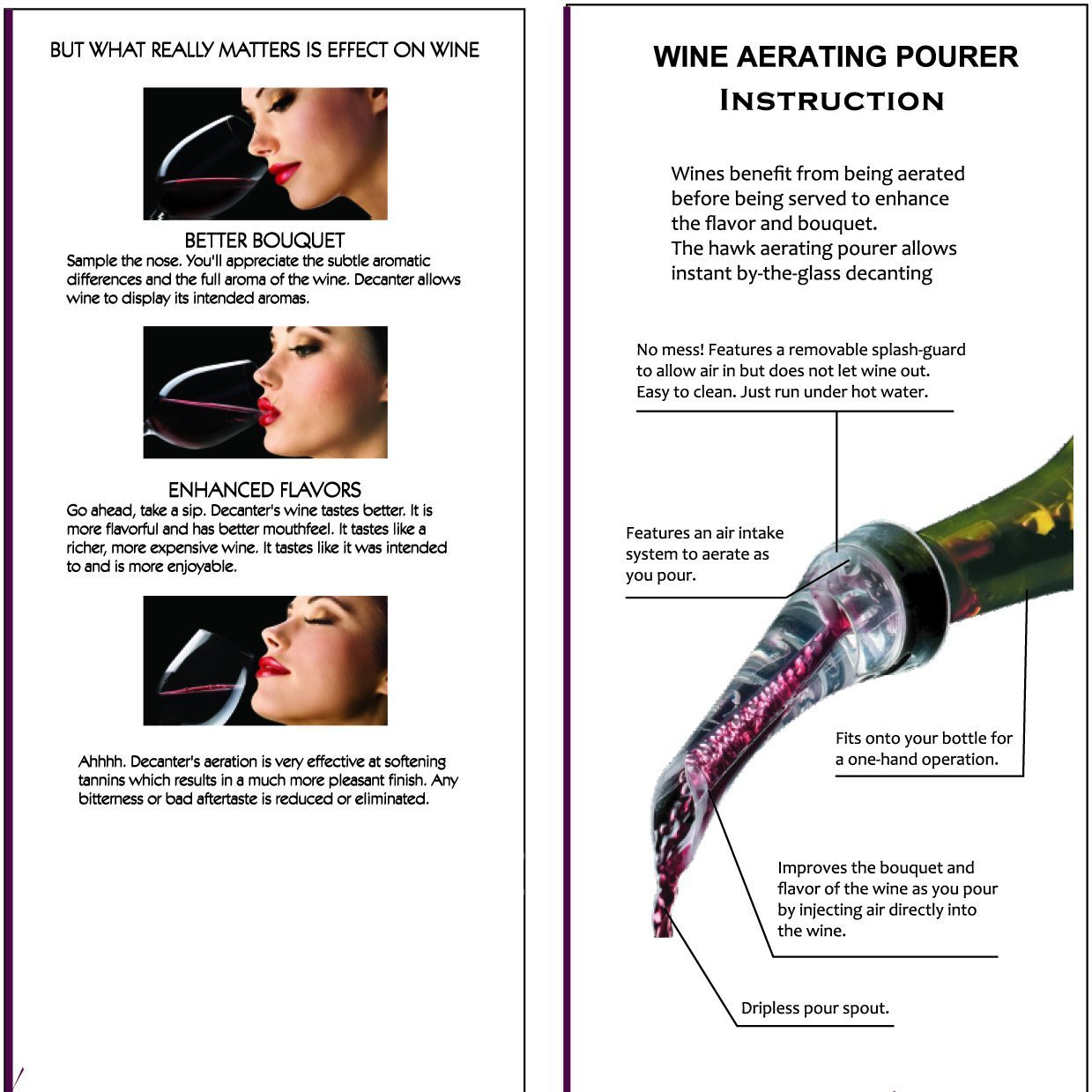 Wine Aerator Pourer by K&K With A Stopper For Wine Bottle Pouring No Drip Essential Wine Accessories by K&K (Image #7)