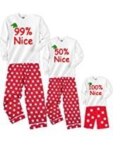 Footsteps Clothing Personalized Percent Nice Matching Red Polka Dot Holiday Pant Adult Pajamas & Kids Playwear