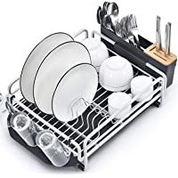 Kingrack Dish Rack, Aluminum Dish Drainer,Dish Drying Rack with Removable Drip Tray, Large Storage Draining Board…