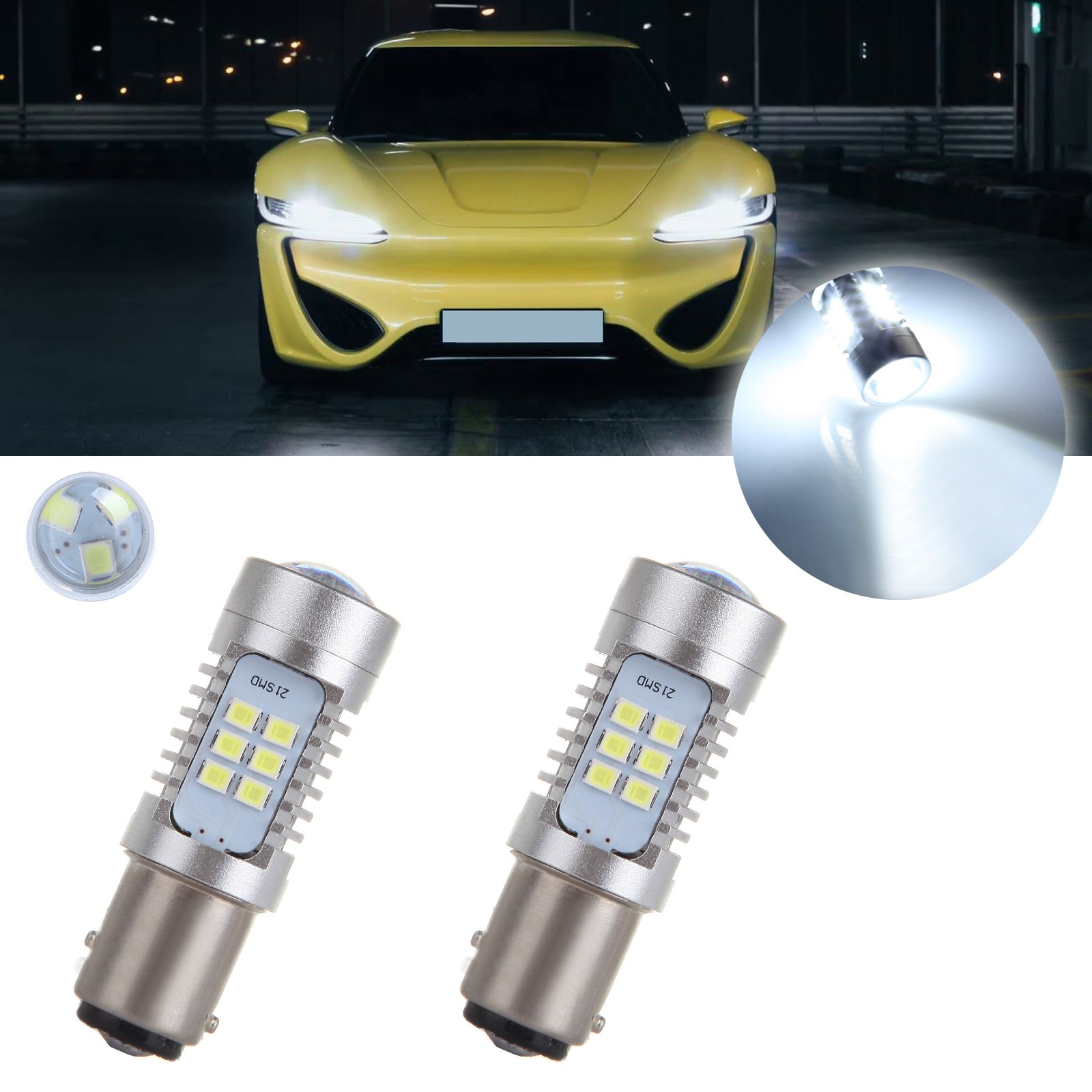 cciyu 2Pack High Power 30SMD 1200 Lumens Super Bright White 1157 LED Bulbs Replacement fit for Back Up Reverse Lights