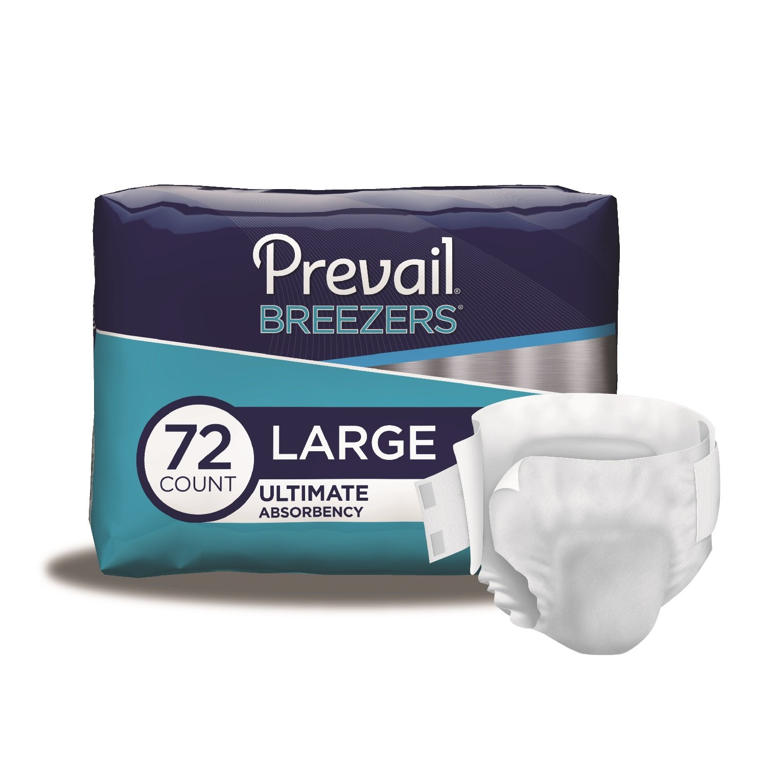 Prevail Breezers Ultimate Absorbency Incontinence Briefs Large 18 Count (Pack of 4) Breathable Rapid