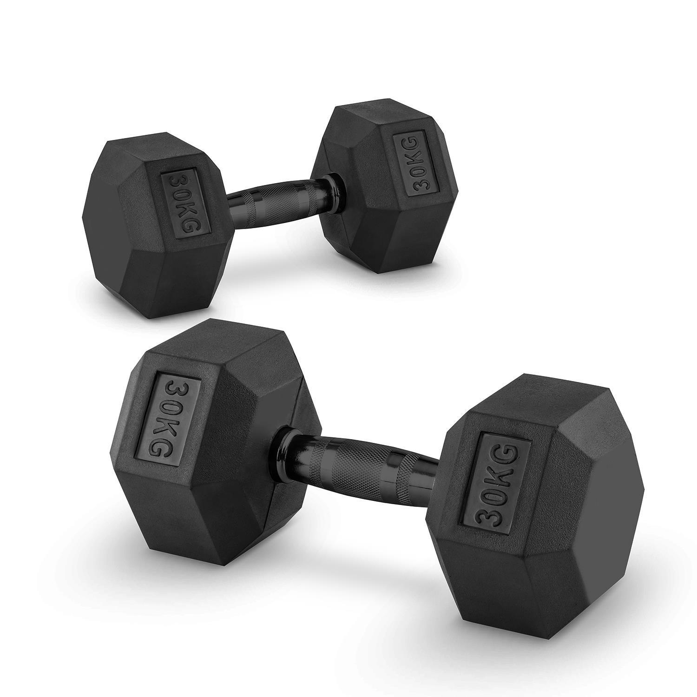 Capital Sports Hexbell Par de Pesas 2 x 30 kg (mancuernas recubiertas de resistente goma dura, barra de acero negro con estrías, máxima sujeción, ...