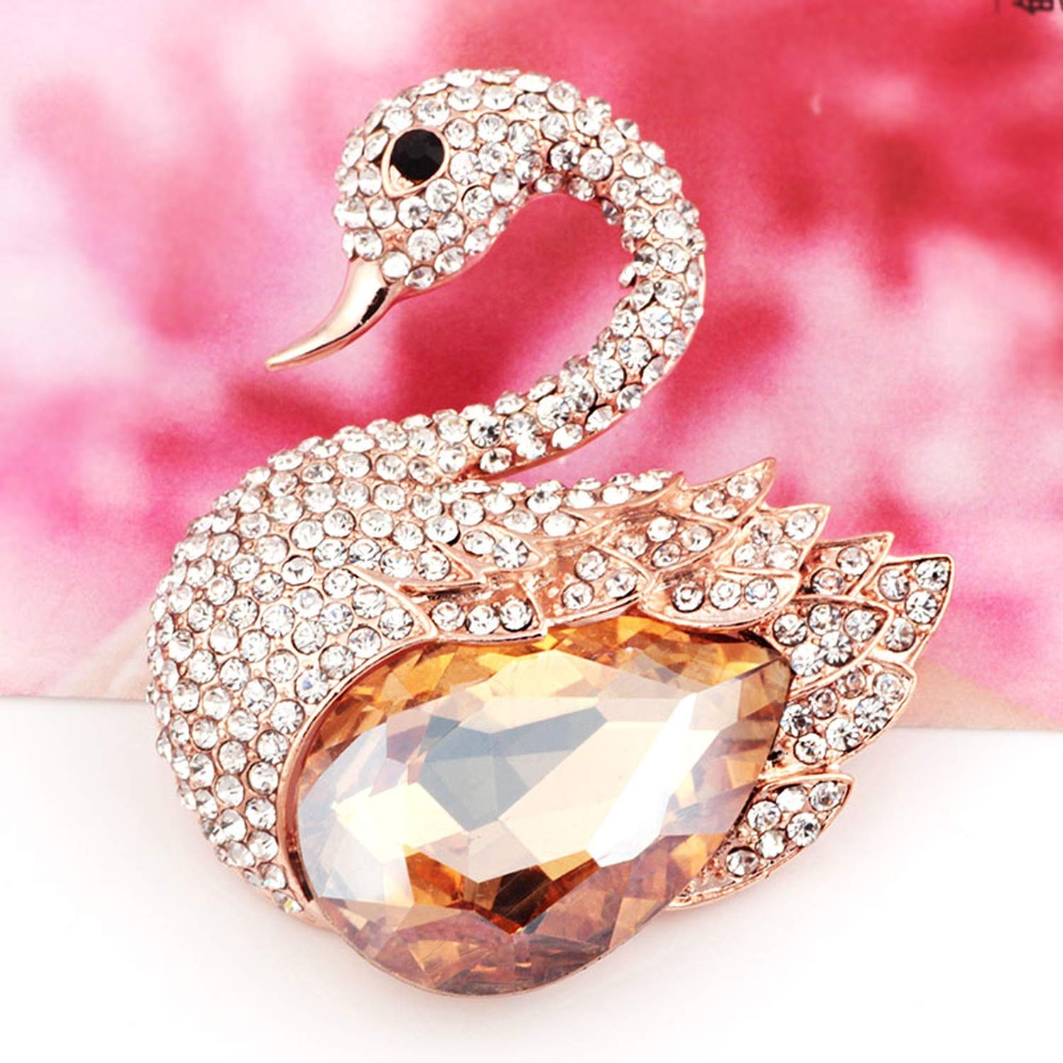 Elegant Swan Crystal Rhinestones Brooches Fashion Scarf Brooches for Women,Blue